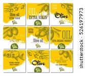 set of 9 olive cards for design ... | Shutterstock .eps vector #526197973