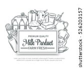 milk product banner. hand drawn ... | Shutterstock .eps vector #526203157