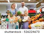 happy spanish  family shopping... | Shutterstock . vector #526224673