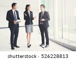 business people  talking and... | Shutterstock . vector #526228813