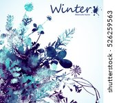 watercolor winter leaves...   Shutterstock .eps vector #526259563