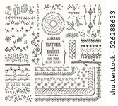 Hand drawn textures and brushes. Creative collection of vector design elements: winter holiday symbols, geometric tribal textures, cute patterns made with ink. Pattern brushes are included in EPS file | Shutterstock vector #526288633