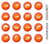 lizard icons vector set of red... | Shutterstock .eps vector #526313857