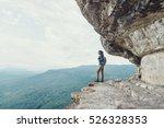 backpacker young woman standing ... | Shutterstock . vector #526328353