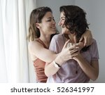 Lesbian Couple Together Indoor...