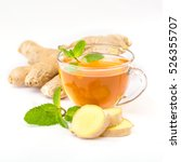 Small photo of cup of hot tea with ginger, lemon and mint on a white background