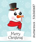 christmas card with snowman | Shutterstock .eps vector #526360687