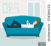 young man lying on the couch at ... | Shutterstock .eps vector #526364113