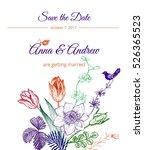 vintage floral wedding... | Shutterstock .eps vector #526365523