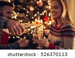 happy couple drinking champagne ... | Shutterstock . vector #526370113