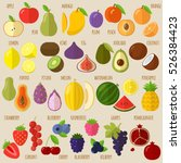 vector flat design fruits and... | Shutterstock .eps vector #526384423