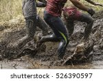 Mud Race Runners Man Running I...