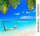 tropical chilling out   hammock ... | Shutterstock . vector #526395217