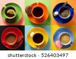 cup of coffee  tea and cacao at ... | Shutterstock . vector #526403497