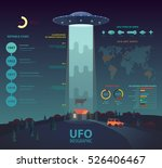 Ufo Infographic With Disk Beam...