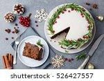 christmas fruit cake  pudding... | Shutterstock . vector #526427557