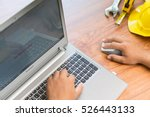 engineer working by computer ... | Shutterstock . vector #526443133