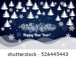 christmas night with white... | Shutterstock .eps vector #526445443