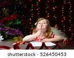 little girl with red pencil... | Shutterstock . vector #526450453