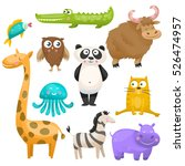 zoo animals set on white... | Shutterstock .eps vector #526474957