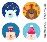 cute retro hand drawn cards... | Shutterstock .eps vector #526474963