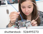 girl in robotics class research ... | Shutterstock . vector #526495273