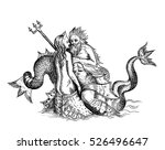 hand drawn sketch of mermaid... | Shutterstock .eps vector #526496647