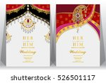 indian wedding card  gold and...   Shutterstock .eps vector #526501117