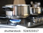 pot stands on a stove   Shutterstock . vector #526523317