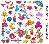 big vector set of cute funny... | Shutterstock .eps vector #526531933