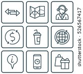 set of 9 traveling icons. can...