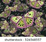colored butterflies on dark... | Shutterstock .eps vector #526568557