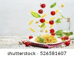 flying pasta with tomatoes ... | Shutterstock . vector #526581607