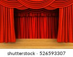 red curtains and wooden stage...   Shutterstock . vector #526593307