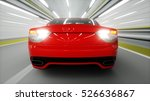 red sport car in a tunnel. fast ... | Shutterstock . vector #526636867