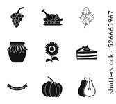 thanksgiving feast icons set.... | Shutterstock .eps vector #526665967