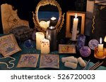 divination rite with candles ... | Shutterstock . vector #526720003