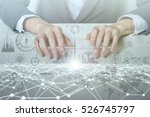 woman looks transparent monitor ... | Shutterstock . vector #526745797