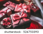 photo gift boxes top view. | Shutterstock . vector #526753393