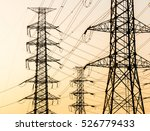 silhouette of high voltage... | Shutterstock . vector #526779433