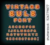 vintage bulb font. glowing... | Shutterstock .eps vector #526779877