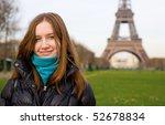 young beautiful girl in paris... | Shutterstock . vector #52678834