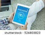 online shopping concept on... | Shutterstock . vector #526803823