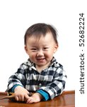 Cute asian baby boy smiles,  isolated in white background - stock photo