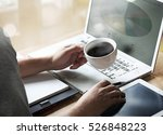man holding coffee cup sitting... | Shutterstock . vector #526848223