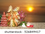 santa claus and snowman on the... | Shutterstock . vector #526849417