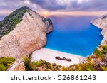 navagio beach at sunset ... | Shutterstock . vector #526861243