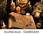 mystic background with old book ...   Shutterstock . vector #526881643