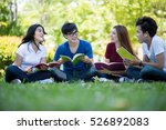 group of students sharing with... | Shutterstock . vector #526892083