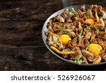 frying pan steel with mushrooms ... | Shutterstock . vector #526926067